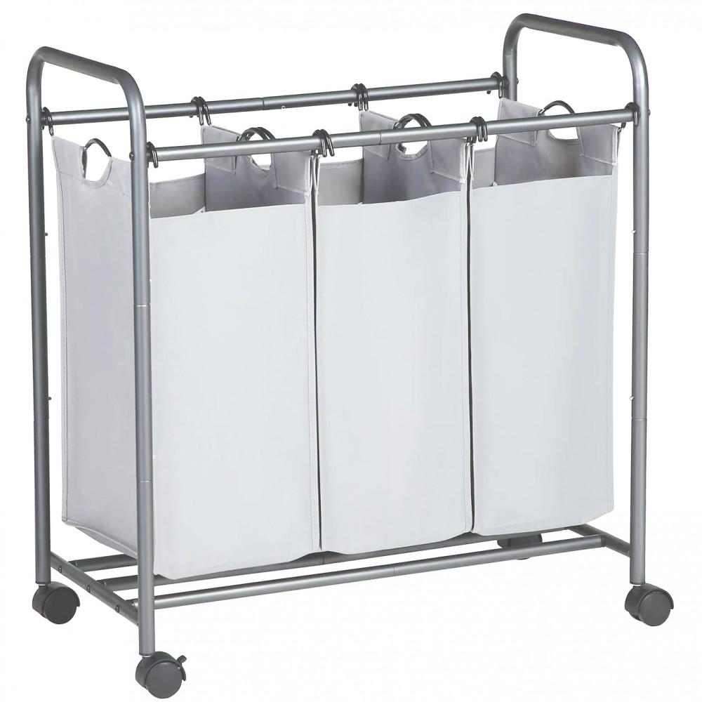Carrello Porta oggetti e biancheria 3 sacchi rimovibili e rotelle Ceste Bucato