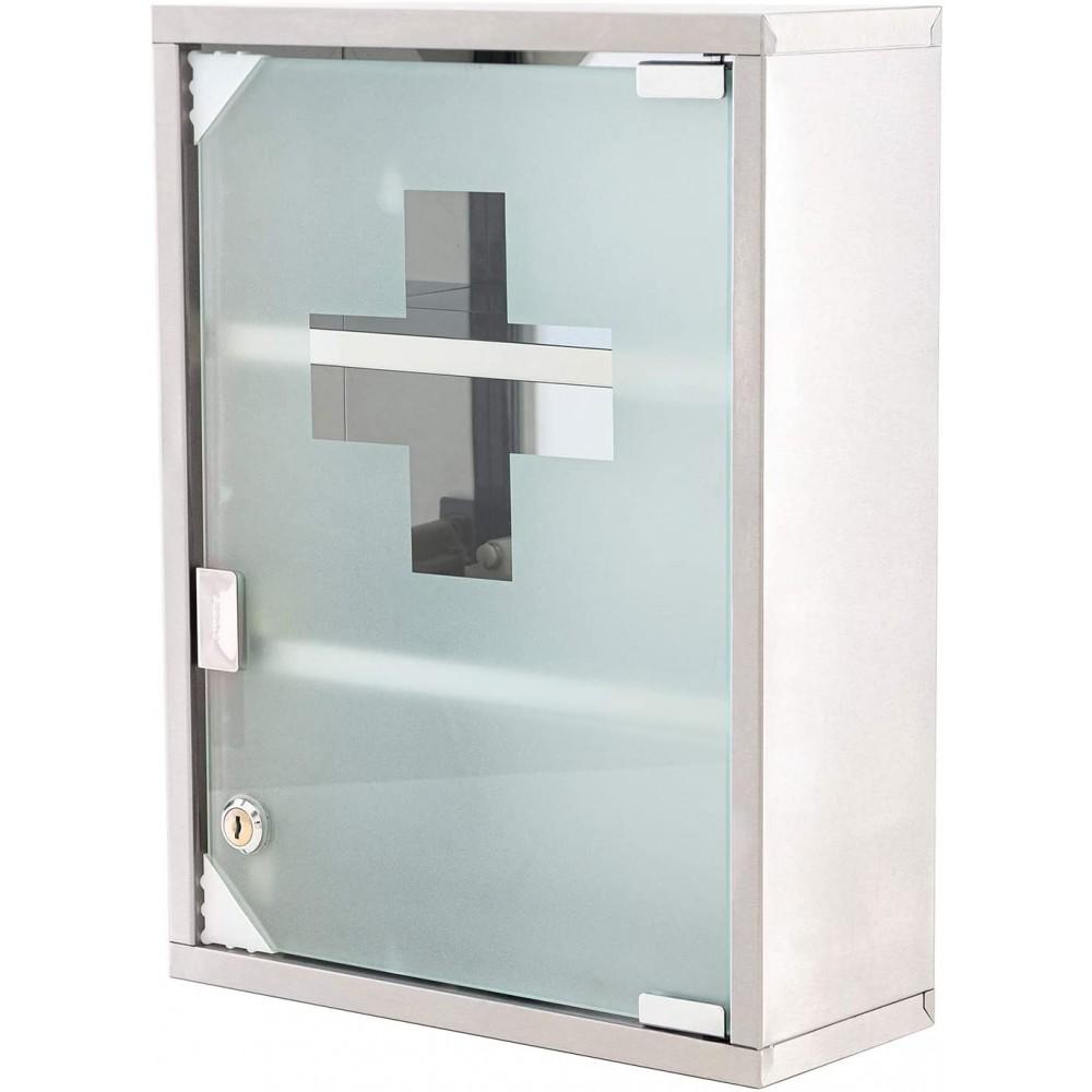 Armadietto porta medicinali con chiave acciaio inox vetro satinato 30x12x45h cm