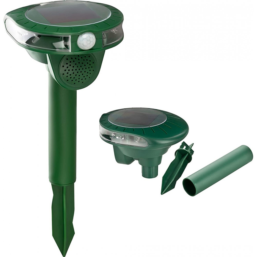 Repellente scaccia talpe e animali a ultrasuoni 136271 con pannello solare verde