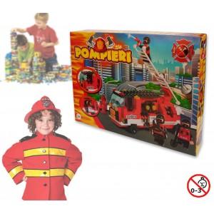 Image of Playset costruzioni Pompieri +170 pz da assemblare 2 personaggi vigili del fuoco con camion 371142 8018933711315