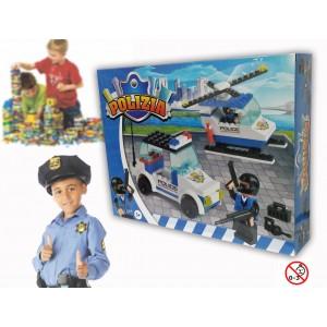 Image of Playset costruzioni Polizia +130 pz da assemblare 2 personaggi elicottero e auto 371142 8018933711230