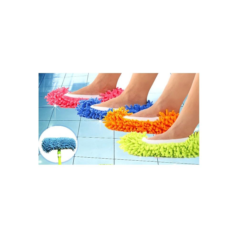 Un paio di pantofole mop 2 in 1 in microfibra pulire camminando doppio utilizzo calzabile fino al 44