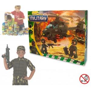 Image of Playset costruzioni Militari +160 pz da assemblare 2 personaggi e elicottero con armi 371142 8017846207502