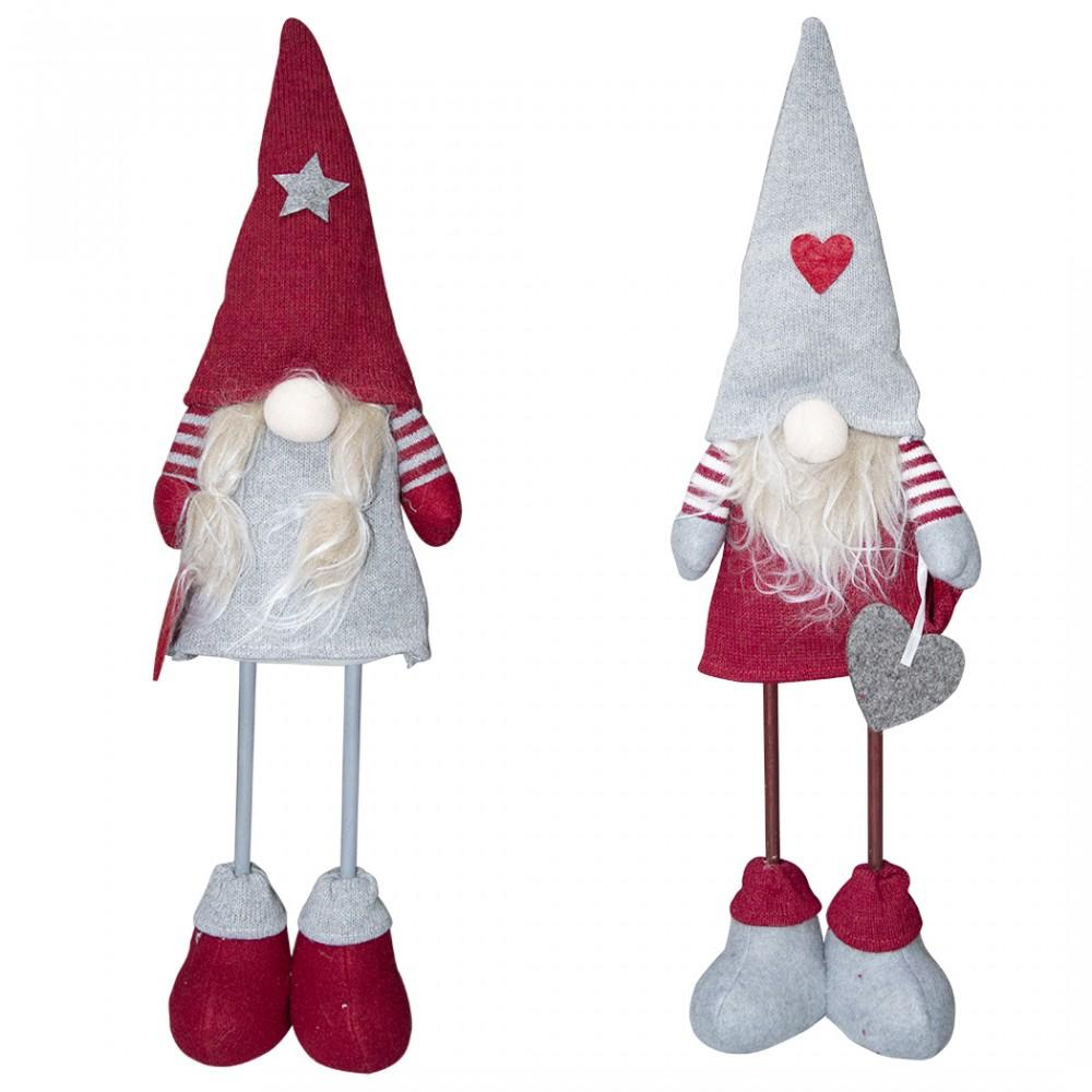 Gnomo in poliestere 50h cm 368006 decorazione con vestito rosso di Natale e luce