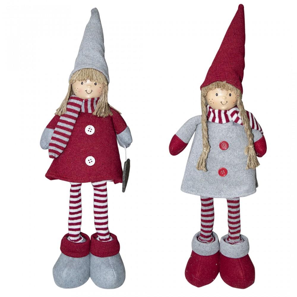 Bambina in poliestere 50h cm 368005 vestito rosso di Natale e luce nella sciarpa