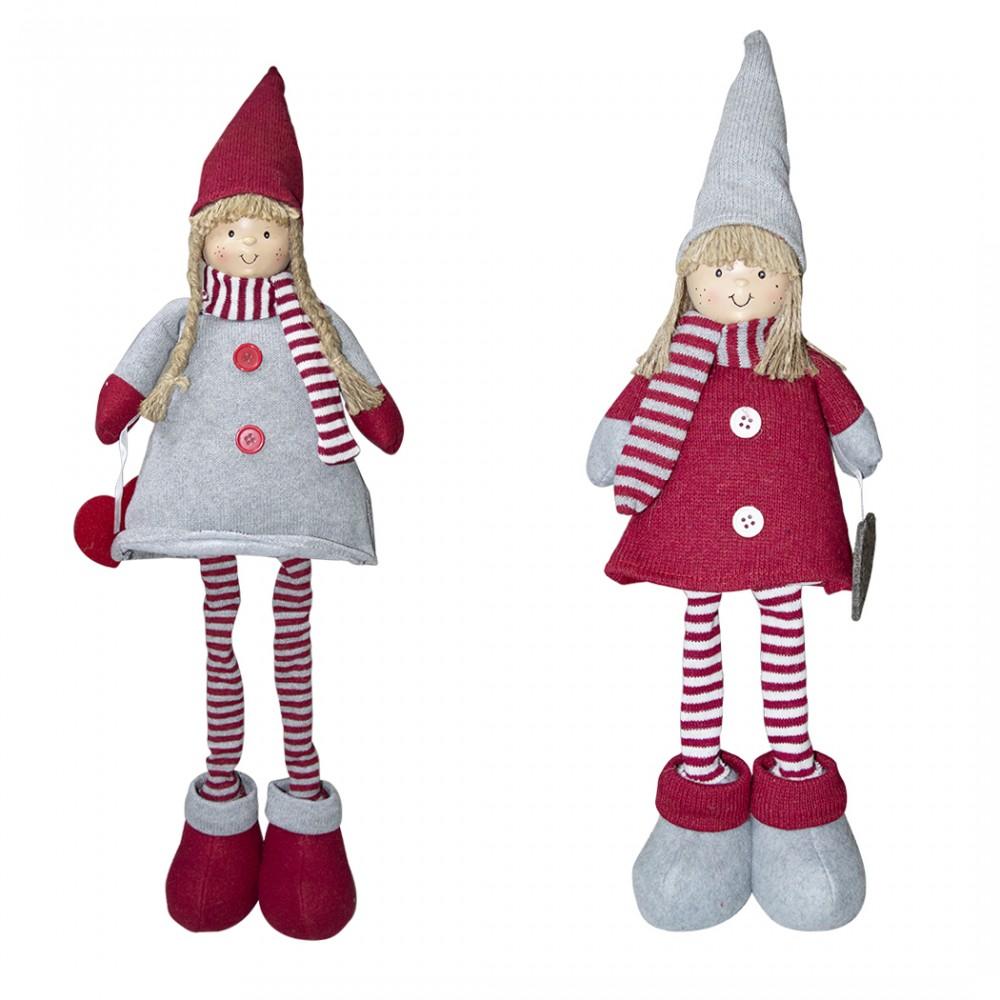 Bambina in poliestere 75h cm 368007 vestito rosso di Natale e luce nella sciarpa