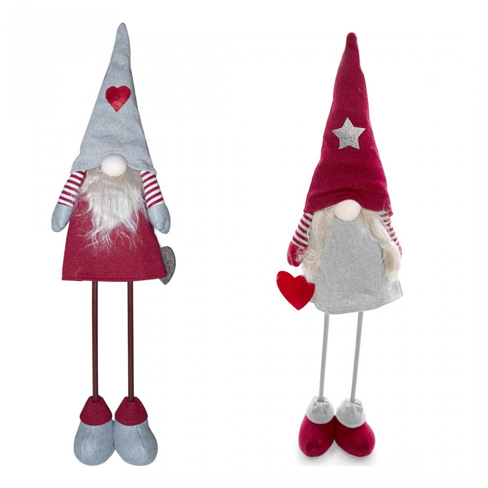 Gnomo in poliestere 75h cm 368008 decorazione con vestito rosso di Natale e luce