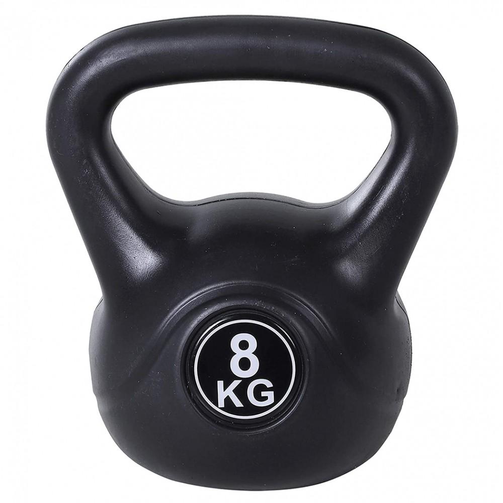 Kettlebell fitness da 8kg in pvc 186960 con sabbia e maniglia anti sfregamento