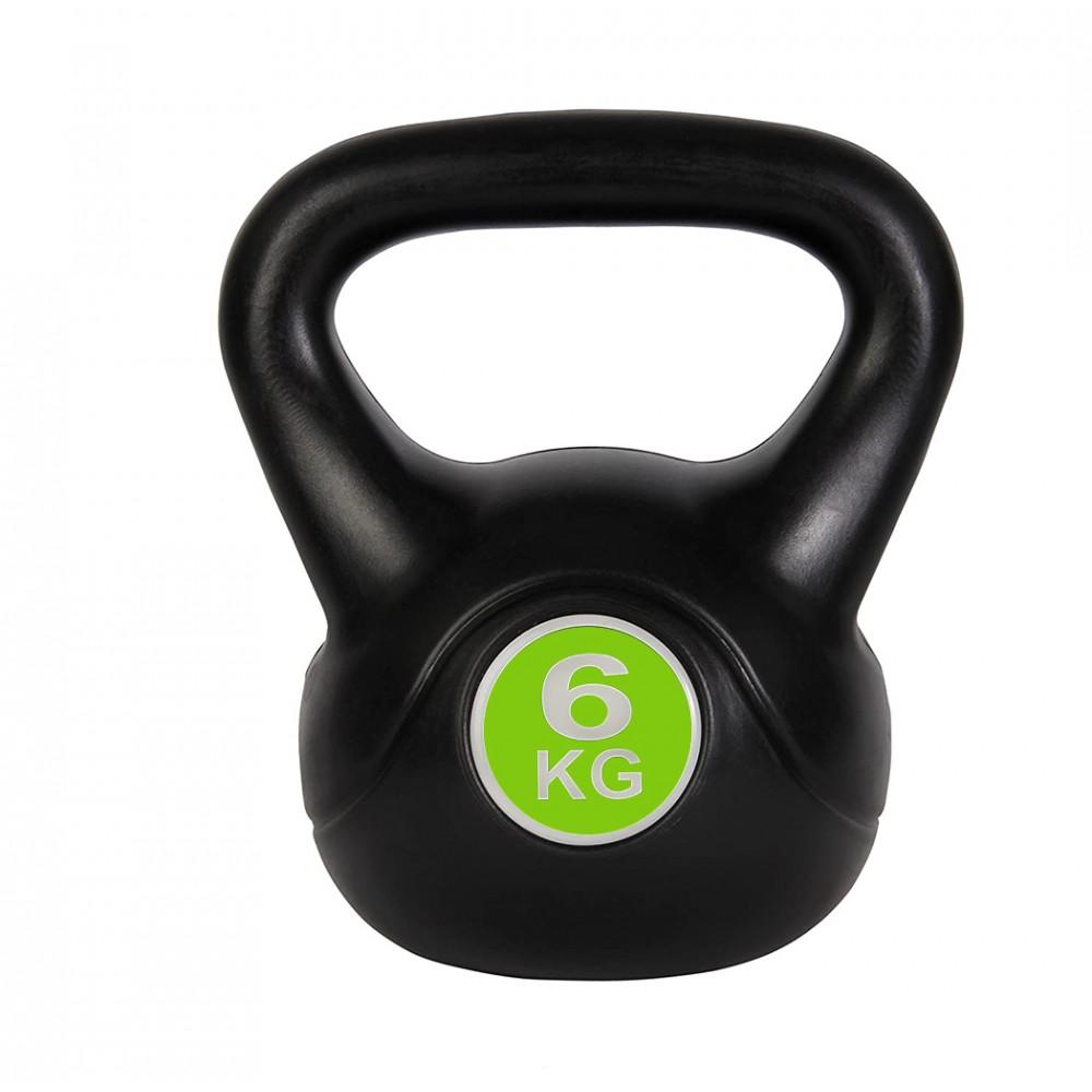 Kettlebell fitness da 6kg in pvc 186953 con sabbia e maniglia anti sfregamento