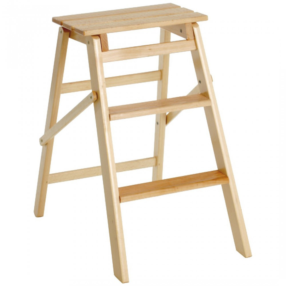 Scaletto 3 gradini art 110 scala in legno 40x59x63 cm fino a 150 Kg richiudibile