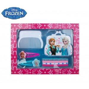 Confezione regalo Frozen kit accessori per capelli cofanetto in legno con clip a chiusura