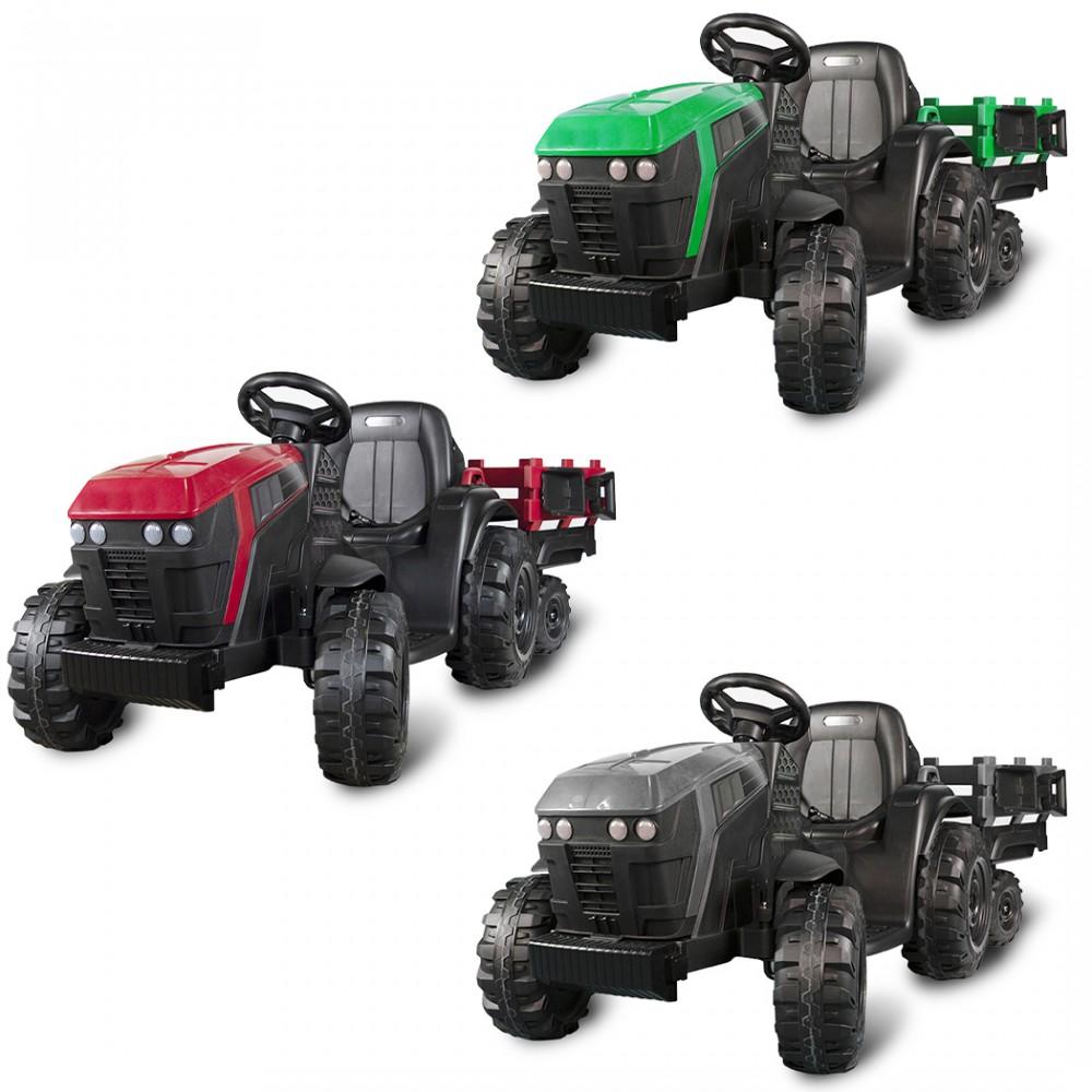 Trattore elettrico per bambini 12 V con rimorchio BK0925 MP3 telecomando e luci