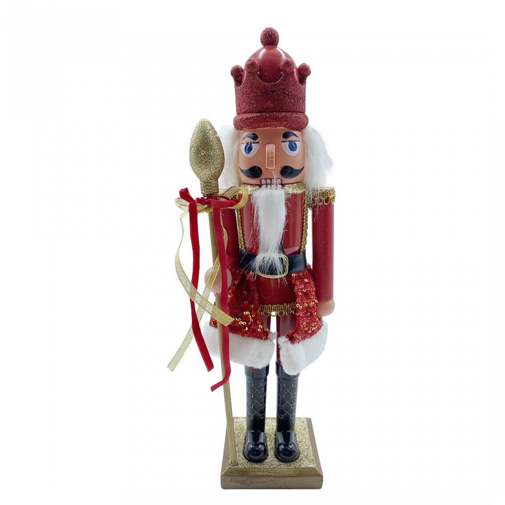 Soldato schiaccianoci 40h cm 392001 ROSSO decorazioni di Natale con scettro