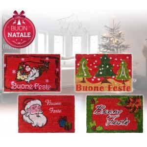 Zerbino design natalizio in fibra di cocco con base in gomma antiscivolo in 4 varianti a tema
