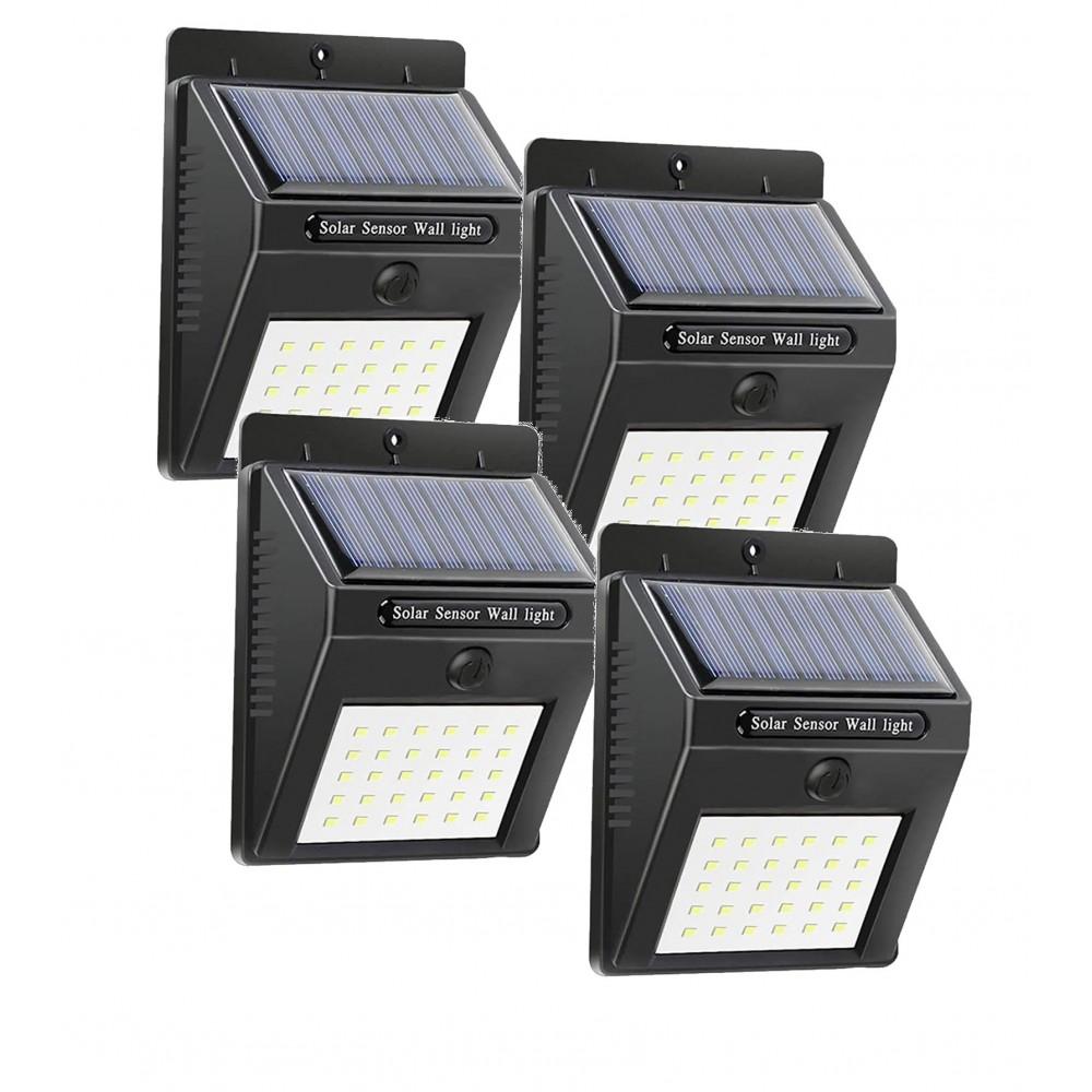 4 pz Faretto da muro ricarica solare e sensore di movimento SMD 20 LED 1200mAH