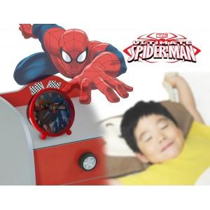 Orologio sveglia da comodino di Spiderman 9 cm graficamente decorato marvel tonda con piedini
