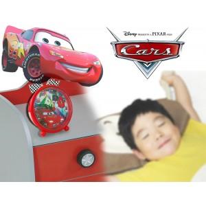 Orologio sveglia da comodino di Cars 9 cm graficamente decorato con Saetta McQueen tonda con piedini