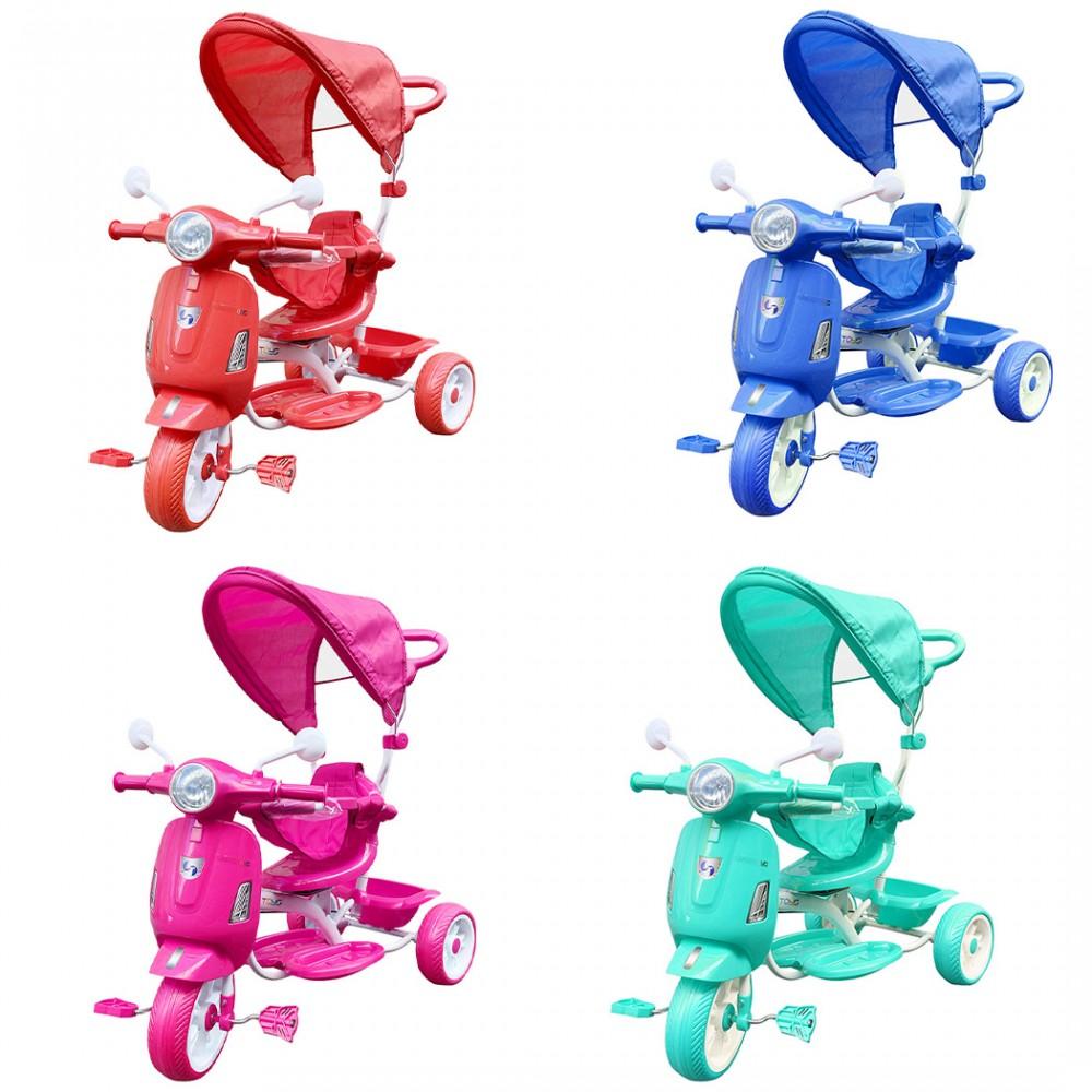 Triciclo a spinta bambini LT916 doppio freno e sediolino girevole fronte mamma