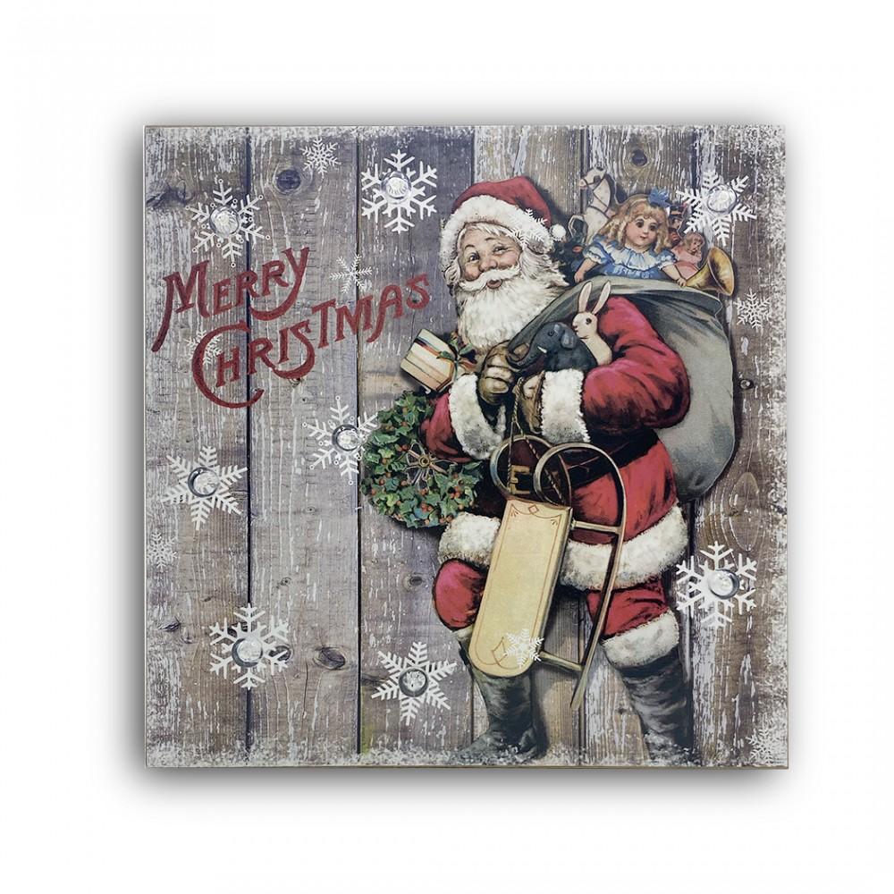 Quadro natalizio BABBO NATALE 782312 con luci 35x35x4 cm decorazioni Natalizie