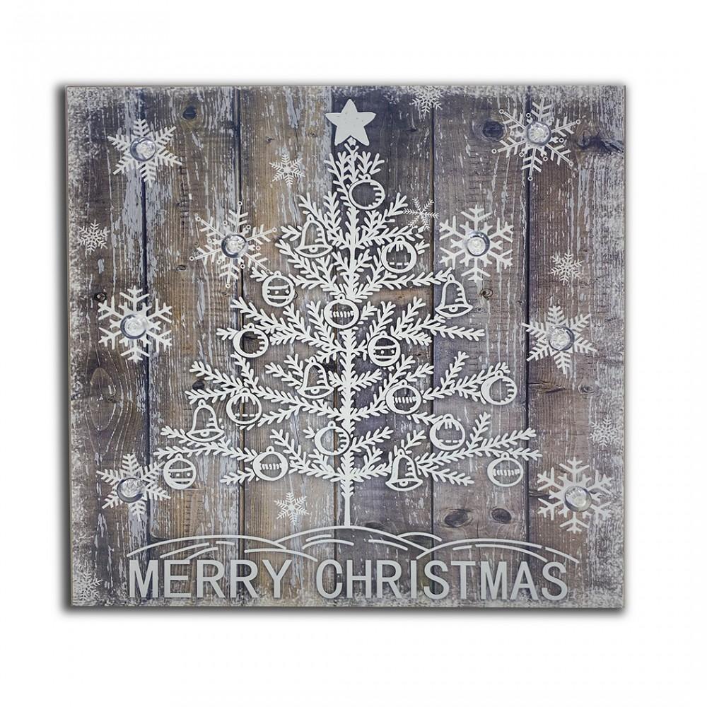 Quadro natalizio ALBERO WHITE 782312 con luci 35x35x4 cm decorazioni di Natale