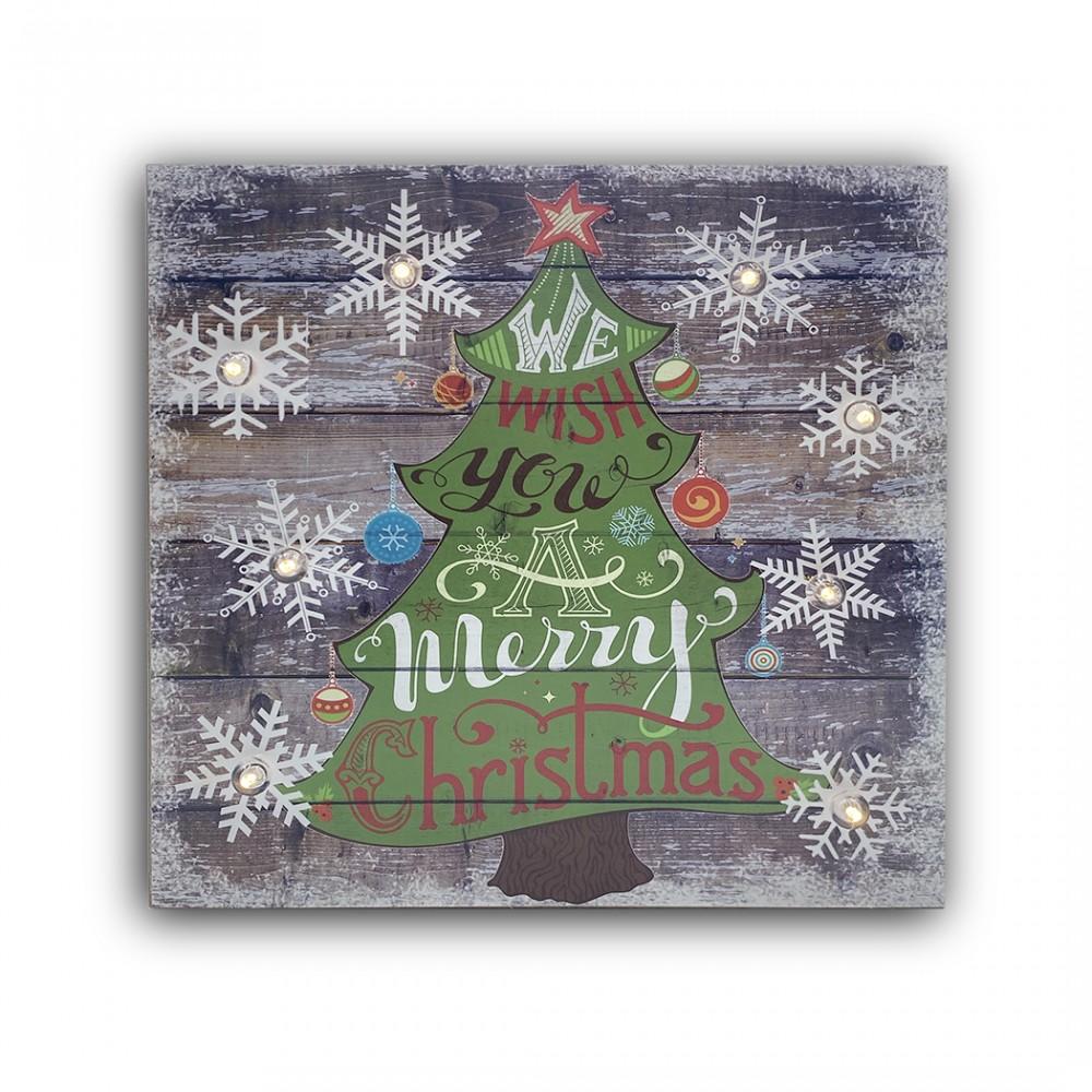 Quadro natalizio ALBERO CLASSIC 782312 con luci 35x35x4 cm decorazioni di Natale