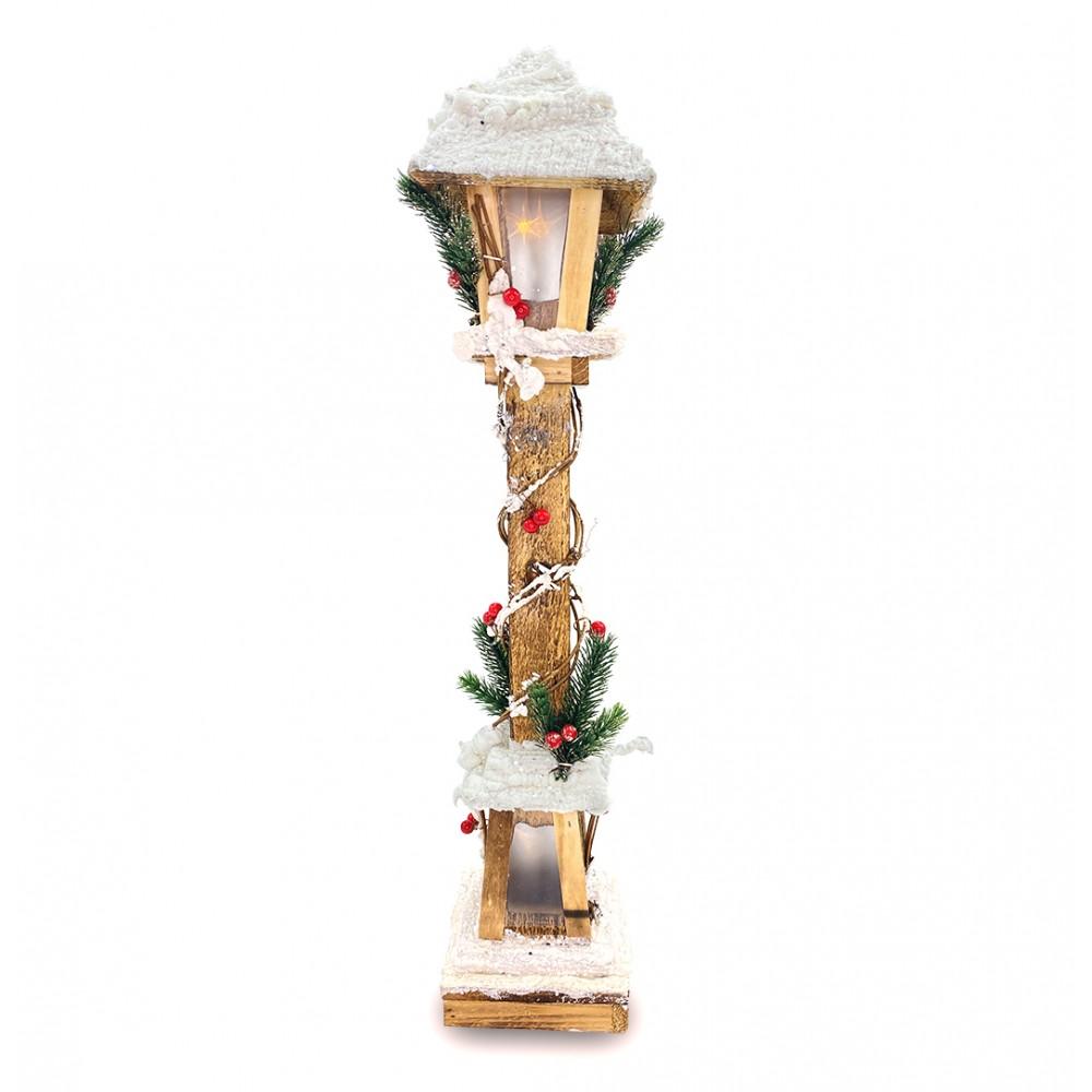 Lampione di Natale 662447 in legno lanterna innevata 61cm con luce led calda