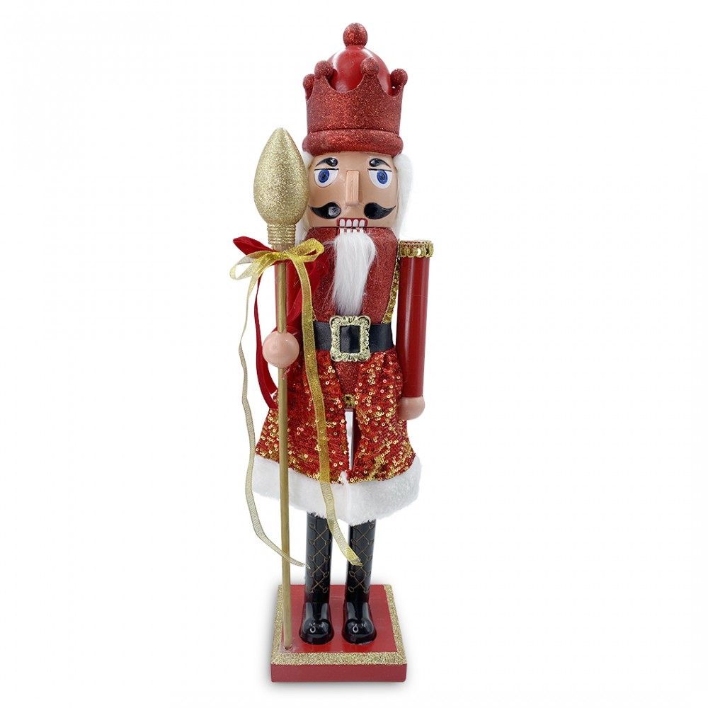 Soldato schiaccianoci 60H cm 392002 ROSSO decorazione Natale con scettro