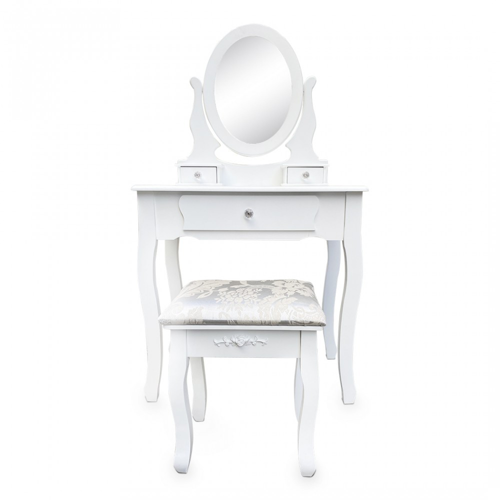 Goliraya Sgabello da Toeletta in Tessuto Bianco Moderno,Sgabello da Trucco Bianco Moderno 40 x 30 x 47 cm