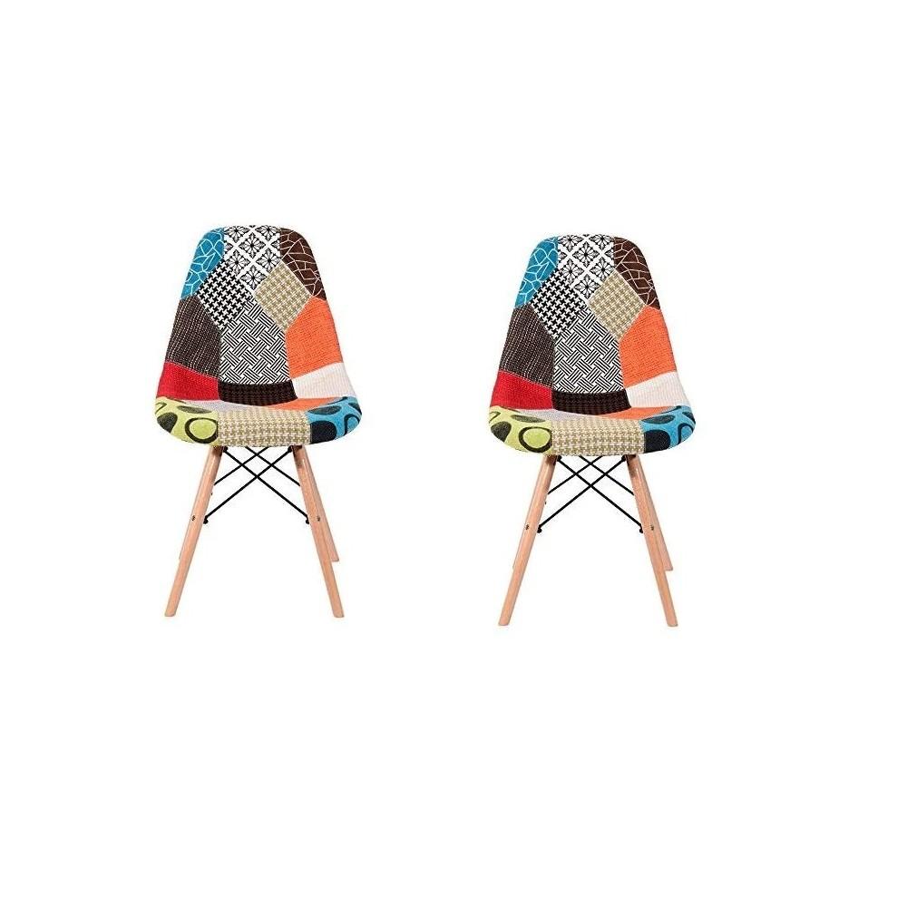 Set di 2 Sedie Fantasy in tessuto Patchwork 48x54x85cm con gambe in legno