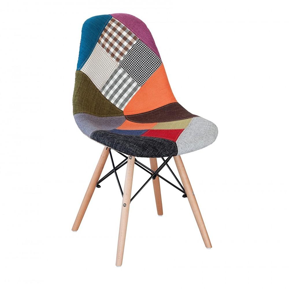 Sedia fantasy tessuto Patchwork 48x54x85cm con gambe in legno e seduta morbida
