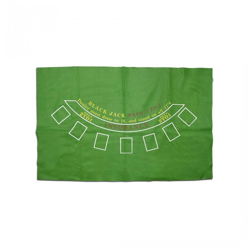 Tappeto copritavolo Black Jack 478000 panno verde per gioco del Poker 60x90 cm