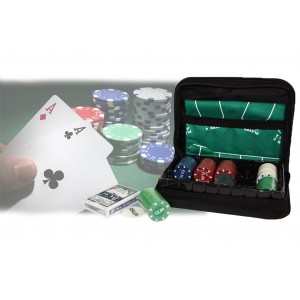 Set da poker in astuccio a cerniera 150 fiches 1 mazzo di carte incluso tappeto