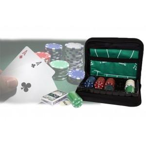 Set da poker in astuccio a cerniera 150 fiches 1 mazzo di carte incluso tappeto