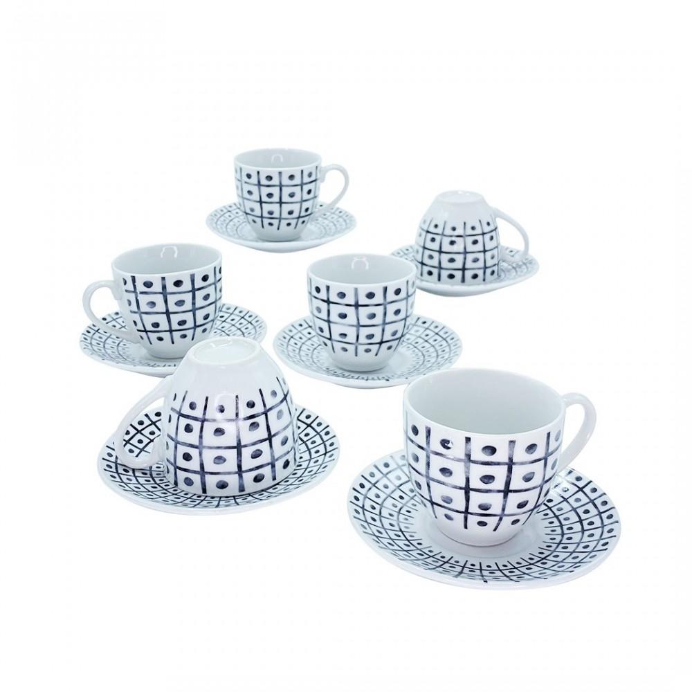 Set 6 tazzine da caffe' con piattino mod. TRIS 270044 di porcellana bianca