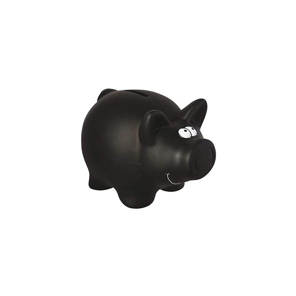 Salvadanaio in ceramica 370104 porta monete maialino nero con gesso per scrivere