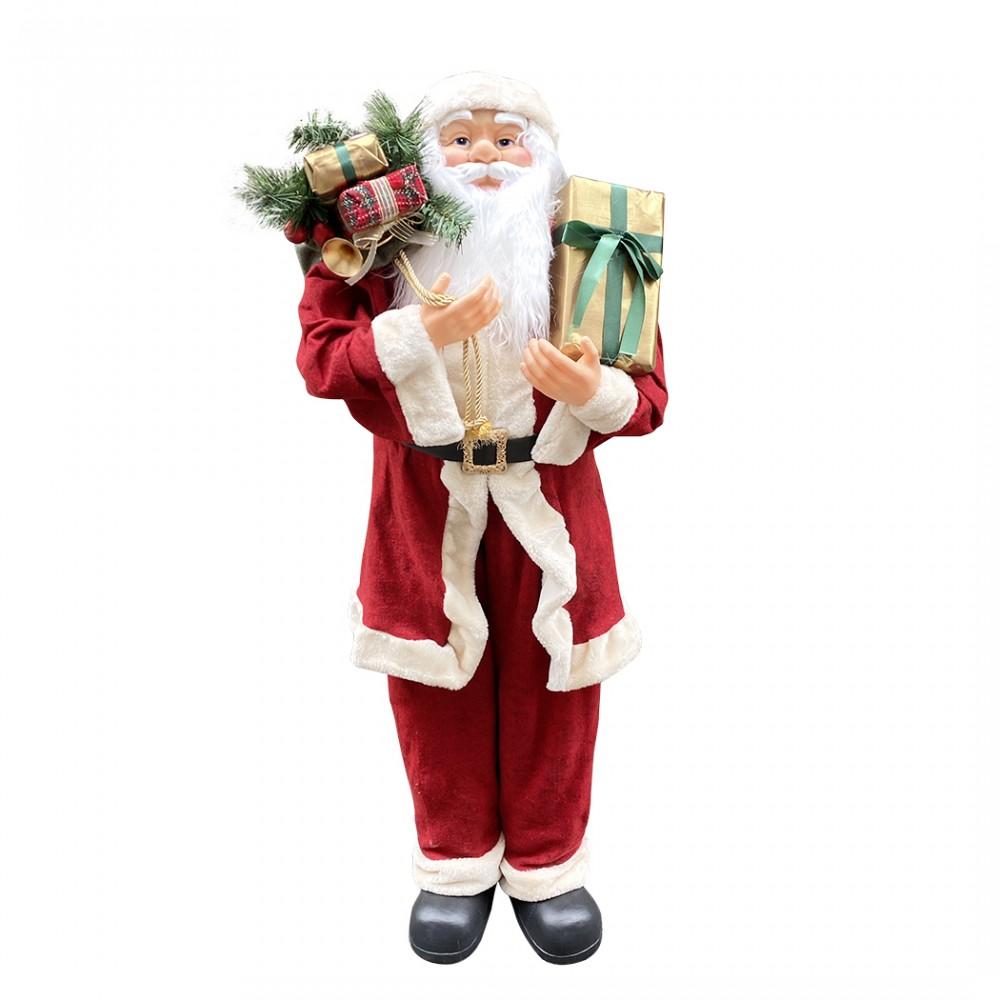 Babbo Natale gigante 120 cm 144114 con borsa addobbo natalizio con suoni e luci