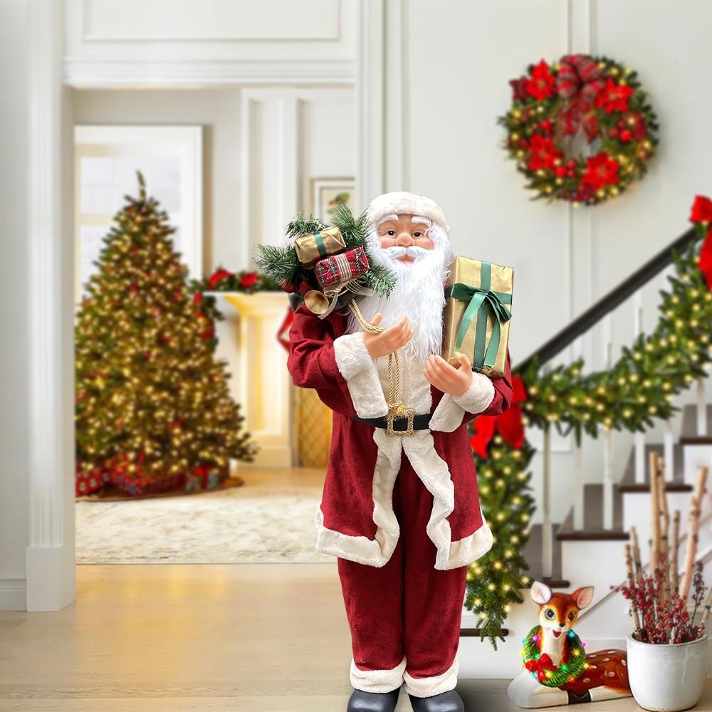 Babbo Natale Uomo Bello.Babbo Natale Gigante 120 Cm 144114 Con Borsa Addobbo Natalizio Con Suoni E Luci