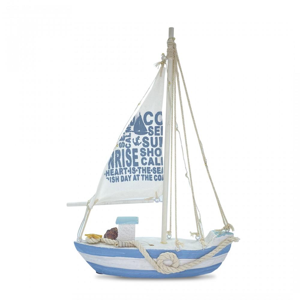 Barchetta a vela in legno 830351 da collezione stile marinaro con 13 luci a led