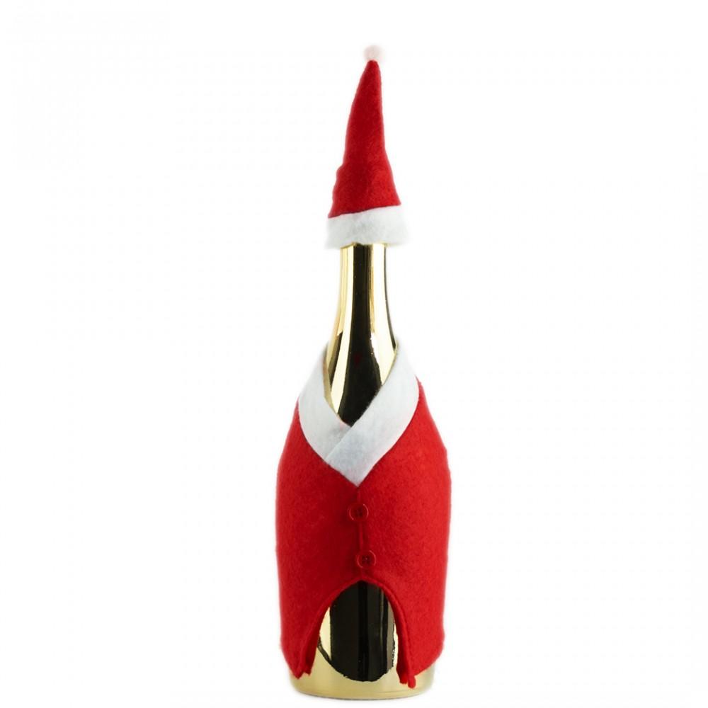 86765 Set 2 copribottiglia natalizi vestito da Babbo Natale con cappellino
