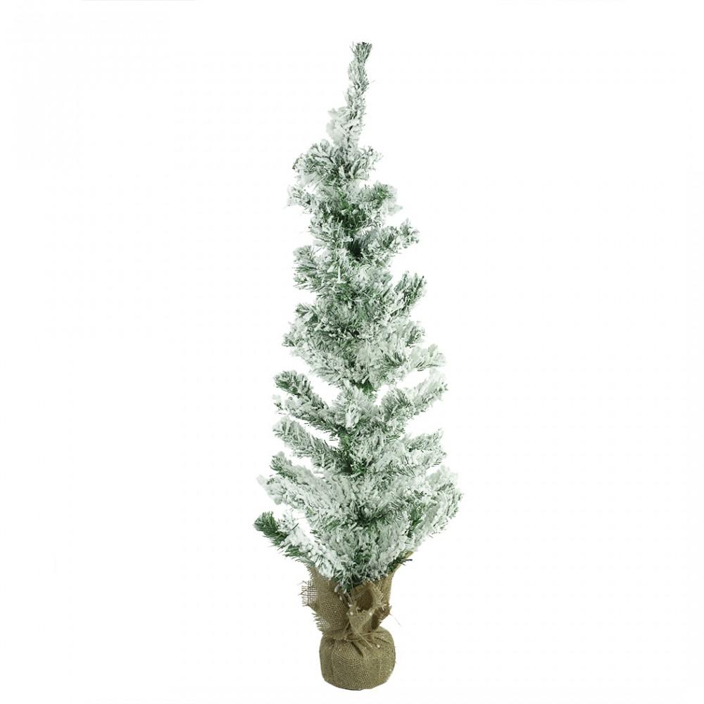 Albero Di Natale innevato 90H Cm 309021 Con base in juta Abete Artificiale