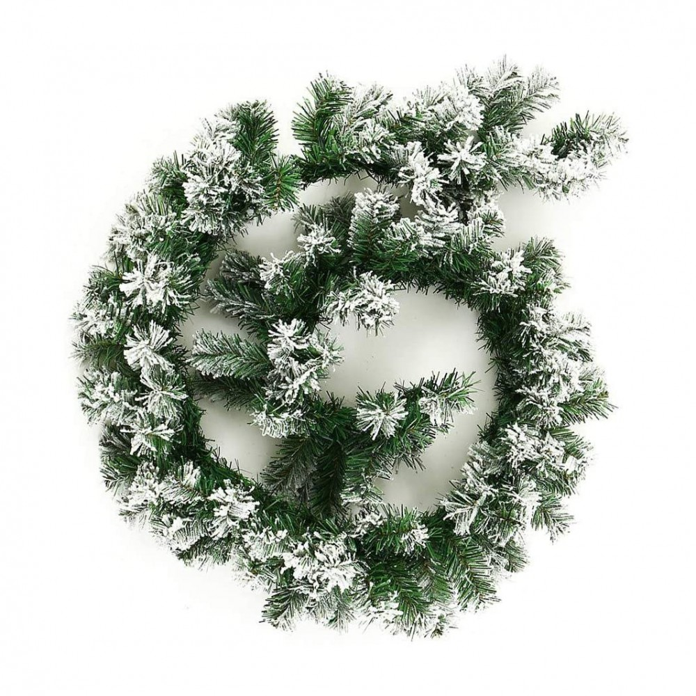 Ghirlanda natalizia 547874 da 200 rami con punte innevate lunga 270 cm