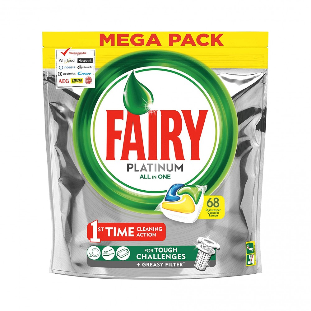 Fairy platinum all in one 496535 con 68 capsule per lavastoviglie al limone