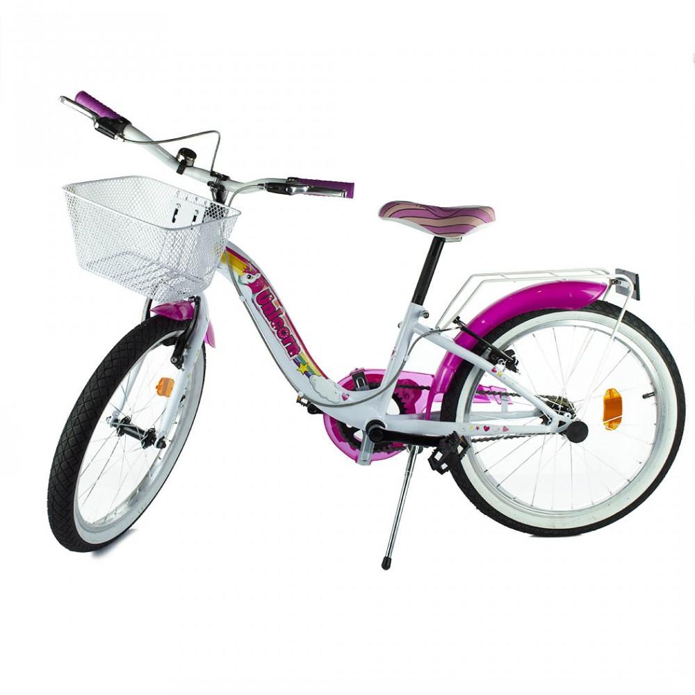 Bicicletta Unicorn taglia 20 bici 204R UN per bambina età 6-8 anni con cestino