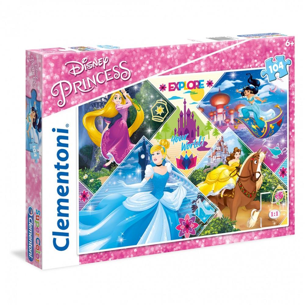 Puzzle Disney Princess 270910 con 4 principesse 48,5x33,5 cm 104 pz Clementoni