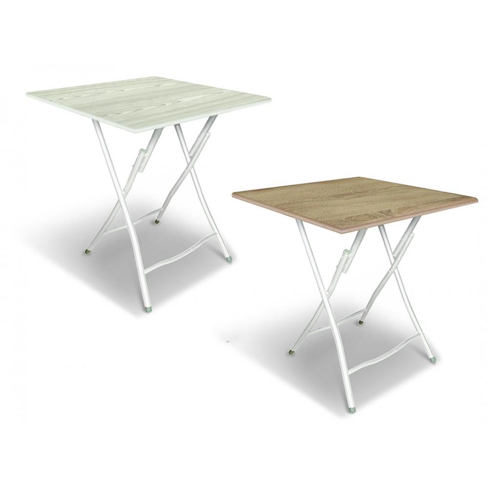 Tavolo Bingo80 pieghevole in acciaio verniciato e top in legno 80x60xH72 cm