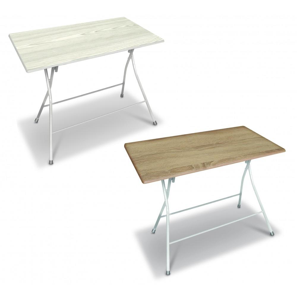 Tavolo Bingo120 pieghevole in acciaio verniciato e top in legno 120x70xH72 cm