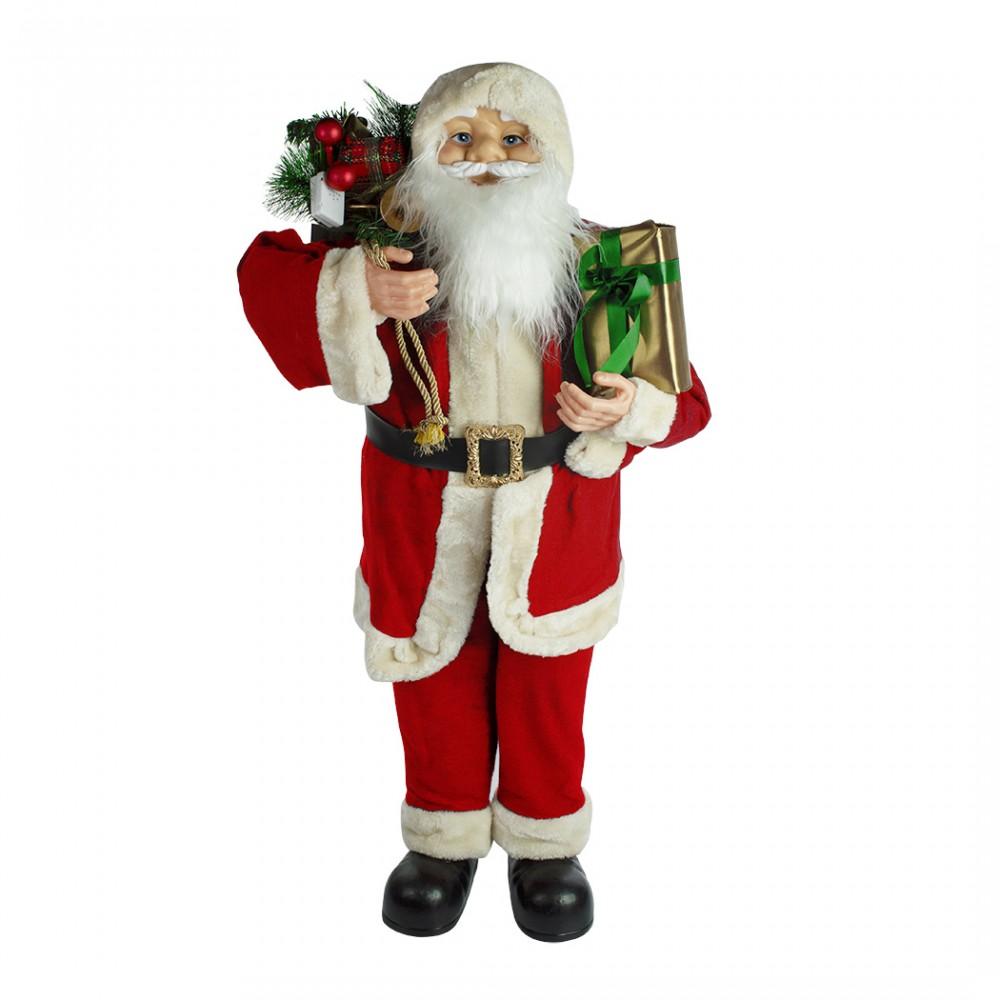 Babbo Natale gigante 90 cm 144116 con regali addobbo natalizio con suoni e luci