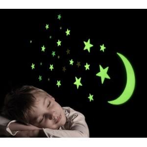 Set 13 stelle e luna GLOW MOON & STARS fluorescenti diverse misure decorazione murale autoadesiva
