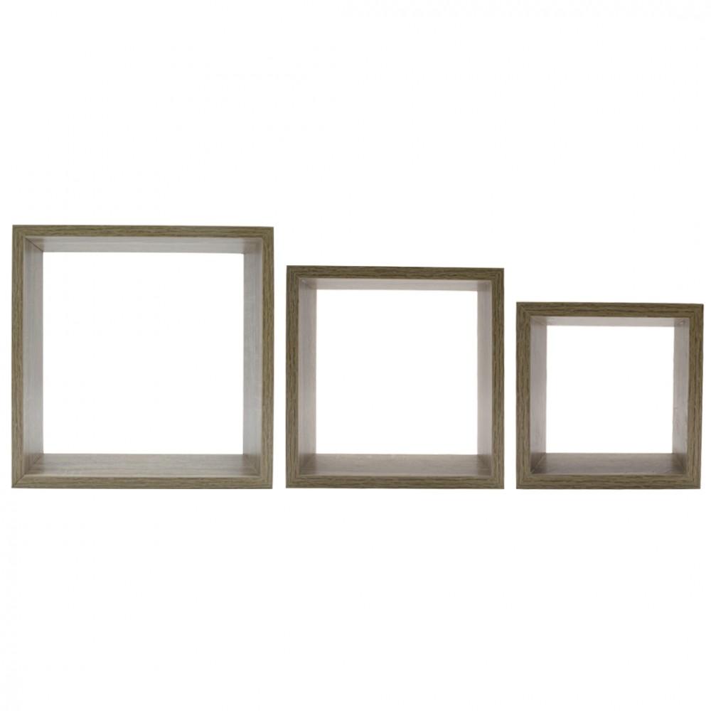 Set da 3 Mensole a cubo in legno NATURALE 547076 con accessori per il montaggio