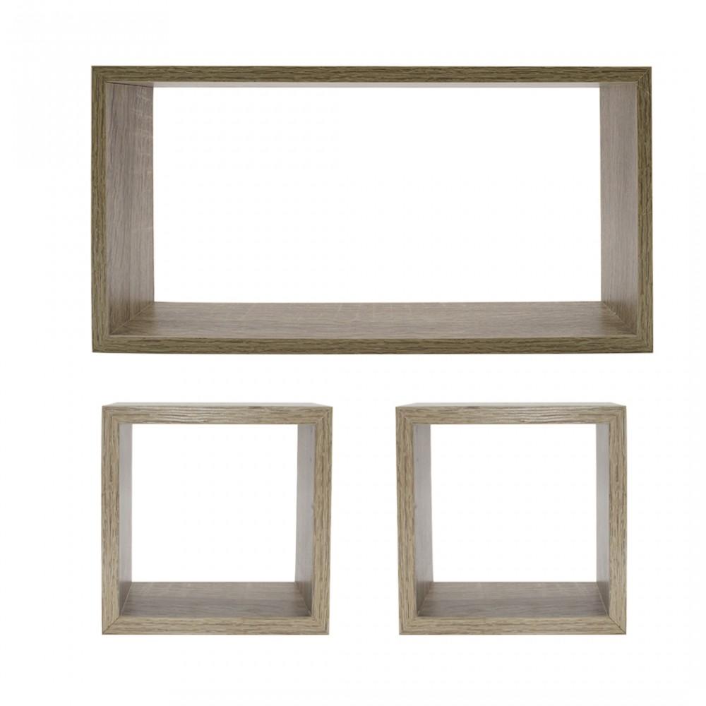 Set 3 Mensole a cubo e rettangolo legno NATURALE 547137 accessori per montaggio